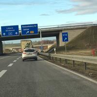 In Richtung Rostock in der Abfahrt auf die B197