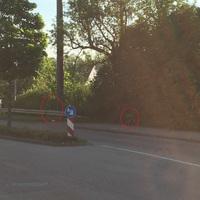 Blitzer steht versteckt im Gebüsch, Höhe Bushaltestelle in der OA von Unterrombach NUR Rtg. Dewangen, Messfahrzeug steht hinter dem Gebüsch und ist somit nicht sichtbar