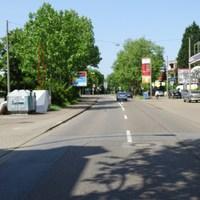 Enforcement Trailer (Anhänger-Blitzer) gegenüber der Tankstelle/über der Unterführung. Überwacht den Verkehr zur Rohrlachstrasse/Innenstadt (Bild-Blickrichtung: nach Westen, ankommender Verkehr) Frankenthaler Strasse