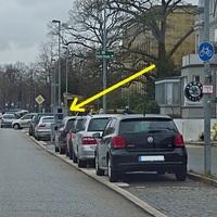 Anfahransicht stadteinwäts fahrend kurz vor der Einmündung der Eschenburgstr.