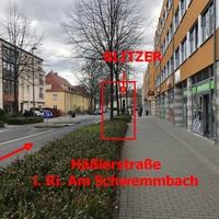 Häßlerstraße (hinter Baumreihe) ; in Richtung Am Schwemmbach -->> stadtauswärts